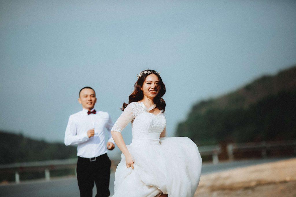 A ravishing bride in a modest wedding gown.